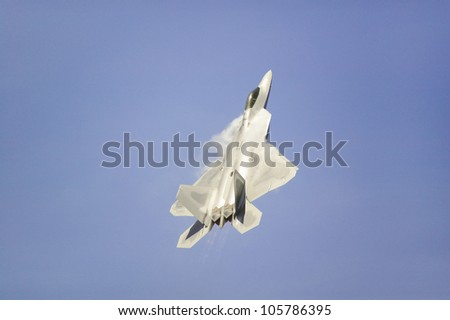 APRIL 2007 - US Air Force F-22A Raptor Jet Fighter making extreme turn at the 42nd Naval Base Ventura County (NBVC) Air Show at Point Mugu, Ventura County, Southern California.