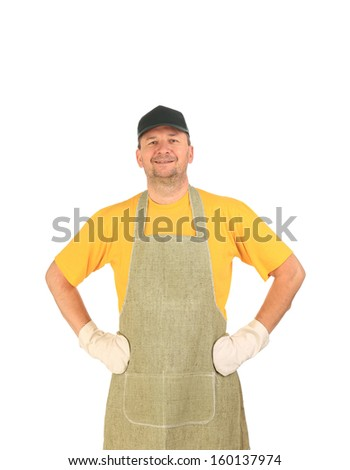 Apron man smiling hands on whaist. Isolated on a white background.