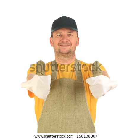 Apron man smiling with thumbs up. Isolated on a white background.