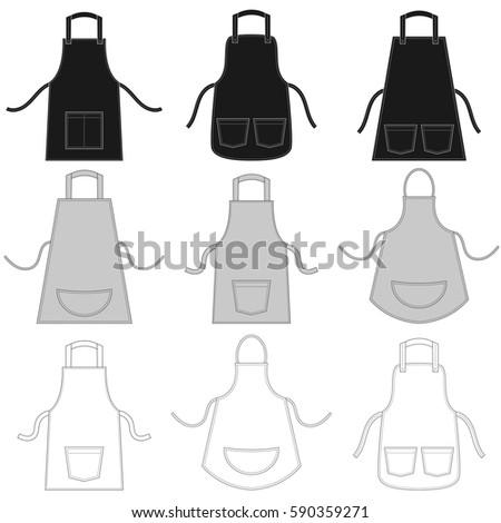 apron set isolated on white. Raster version