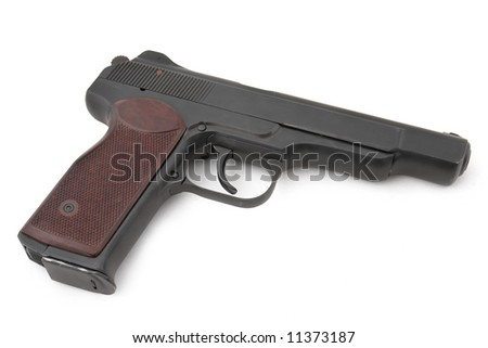 APS (automatic pistol of Stetchkin). 9mm. 20 cartridges. Very strong. Designed after the WWII. Popular by special units (in Afghanistan), nowadays also by Chechen rebels. Russia - stock photo