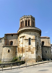 Apse and bell tower of the old Saint-Lizier cathedral in Saint-Lizier