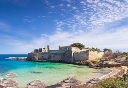 Apulia beach: Porto Ghiacciolo, placed in the south area of Monopoli, near S. Stefano Abbey,is a peculiar creek characterized by the spring ice-cold waters (Italy).