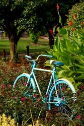 Aqua blue painted bike in park during midsummer. Colored bike surrounded by flowers in bright sunlight.