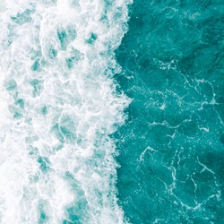 Aqua green ocean wave during summer tide, abstract sea nature background