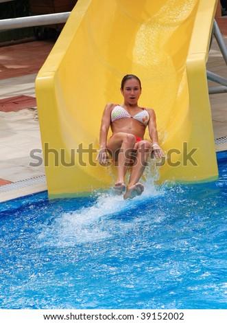 Stock Photo Aqua Park Girl Slide...