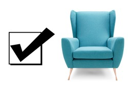 Aqua Teal Blue Chair Isolated on White. Interior Furniture Front View. Modern Turquoise Club Armchair with Wings & Copper Feet. Brushed Plain Fabric Upholstered Wingback Accent Armchair with Armrests