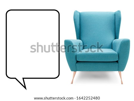 Photo of  Aqua Teal Blue Chair Isolated on White. Interior Furniture Front View. Modern Turquoise Club Armchair with Wings & Copper Feet. Brushed Plain Fabric Upholstered Wingback Accent Armchair with Armrests