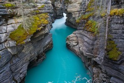 Aqua waters at Athabasca Falls, Alberta, Canada