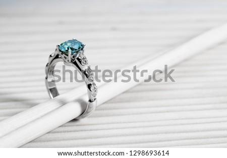 Aquamarine Engagement Ring #1298693614