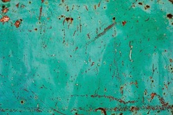 Aquamarine green painted corroded metal sheet, grunge background or texture