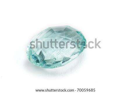 aquamarine jewel isolated against a white background