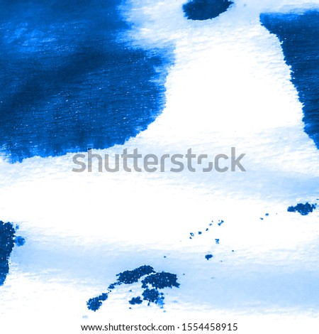Aquarelle Art. Color Brushstroke. Watercolor Artwork. Craft Ethnic Dirty Art. Modern Artistic Look. Boho Abstract Painting. Azure, White Aquarelle Art.