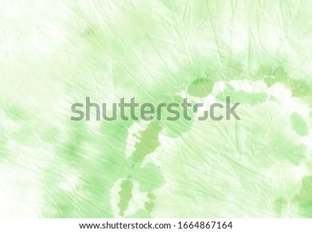 Aquarelle Brush Pattern. Beautiful Tie Dye Dirty Art. Pale Green Tie Dye Simple Backdrop. Acrylic Splash Batik Stains. Tie Dye Flowing Splattered Dye Art. Indian Repeat Elements.