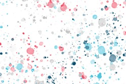 Aquarelle Design. Closeup Cobalt Wallpaper. Abstract Aquarelle Design. Space White Invitation. Acrylic White Picture. Abstract texture of splatters and blots. Many spots and small dots.