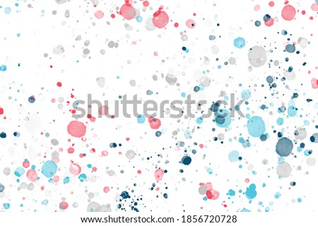 Photo of  Aquarelle Design. Closeup Cobalt Wallpaper. Abstract Aquarelle Design. Space White Invitation. Acrylic White Picture. Abstract texture of splatters and blots. Many spots and small dots.