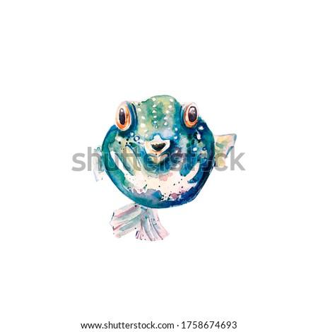 Aquarelle painting of fish sketch art illustration