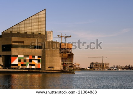 Aquarium building at sunset in Baltimore Inner Harbor