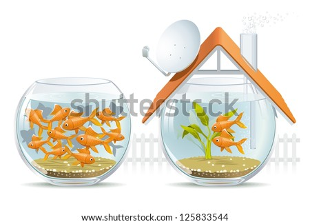 Aquarium home & social housing. Illustration by-side comparison of an individual house of social housing. - stock photo