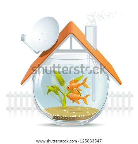 Aquarium home. Illustration of a comfortable house in a aquarium with a nice white picket fence.