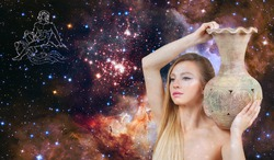 Aquarius Zodiac Sign. Astrology and horoscope concept. Beautiful woman Aquarius on the galaxy background