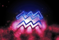 Aquarius zodiac sign, night sky,Horoscope Astrology background,Aquarius horoscope symbol, Pink and Blue