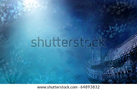 Aquatic Marine Seascape with shipwreck and fish in deep blue water. Shipwreck photo is of the Vasa from Stockholm.