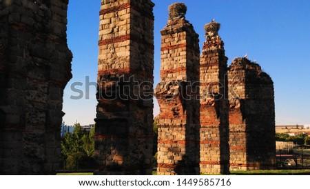 Aqueduc in Merida (Augusta Emerita). Roman City - Temples, Theatres, Monuments, Sculptures and Arenas -  Estremadura, Spain #1449585716