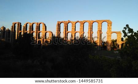 Aqueduc in Merida (Augusta Emerita). Roman City - Temples, Theatres, Monuments, Sculptures and Arenas -  Estremadura, Spain #1449585731