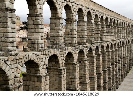 Aqueduct of Segovia, Castilla y Leon, Spain stock photo