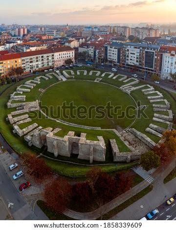 Aquincum Military Amphitheater in Obuda district Budapest Hungary. Roman monument. Built in 1st century. Stock fotó ©