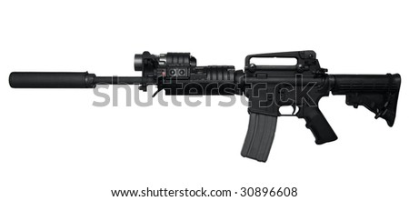AR-15 Assault rifle side view Isolated on white background