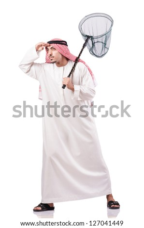 Arab businessman with catching net on white