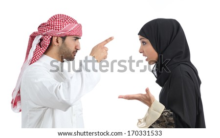 Arab couple discussing angry isolated on a white background