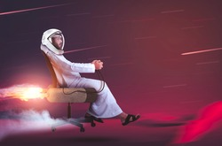 Arab Emirati man sitting on chair flying to Mars planet, UAE to MARS, Arabic space.