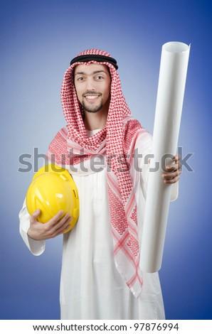 Arab engineer with drawings
