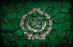 Arab League flag pattern on the crack soil texture ,retro vintage style