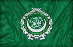 Arab League flag pattern on the fabric texture ,vintage style