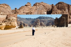 Arab man visiting the spectacular and astonish mirrored building in Madain Saleh in Al Ula Saudi Arabia