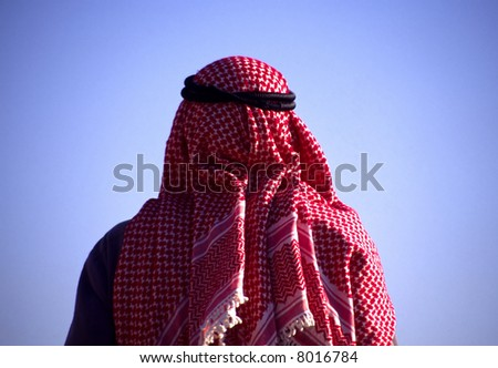 Arab man with head scarf - stock photo