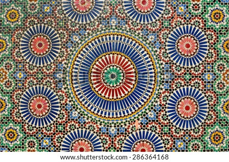 Arab mosaic in Marrakech morocco texture floral pattern