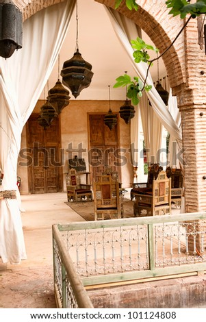 Arab rustic terrace with part of the rest in Morocco