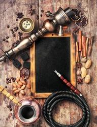 Arab shisha with coffee flavor and chalk board