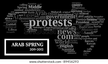 Arab spring uprising info-text/cloud word composed in the map shape of the Arab world  comprises the states & territories of the Arab League