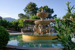 Arab-style water fountain with lions in the Andalusian town of Siles, Spain.