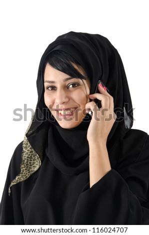 Arab Woman Talking On Phone