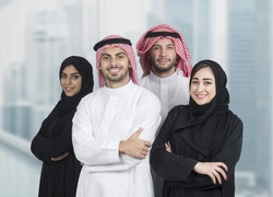 Arabian business team in a modern interior