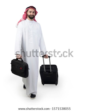 Arabian businessman with luggage, Arabian man traveling