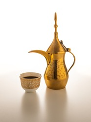 Arabian Coffee traditional set on white background