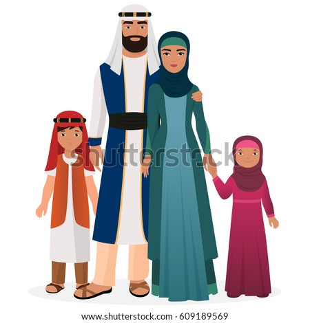 Arabian family. Arabian man and woman with boy and girl kids in traditional national clothes.